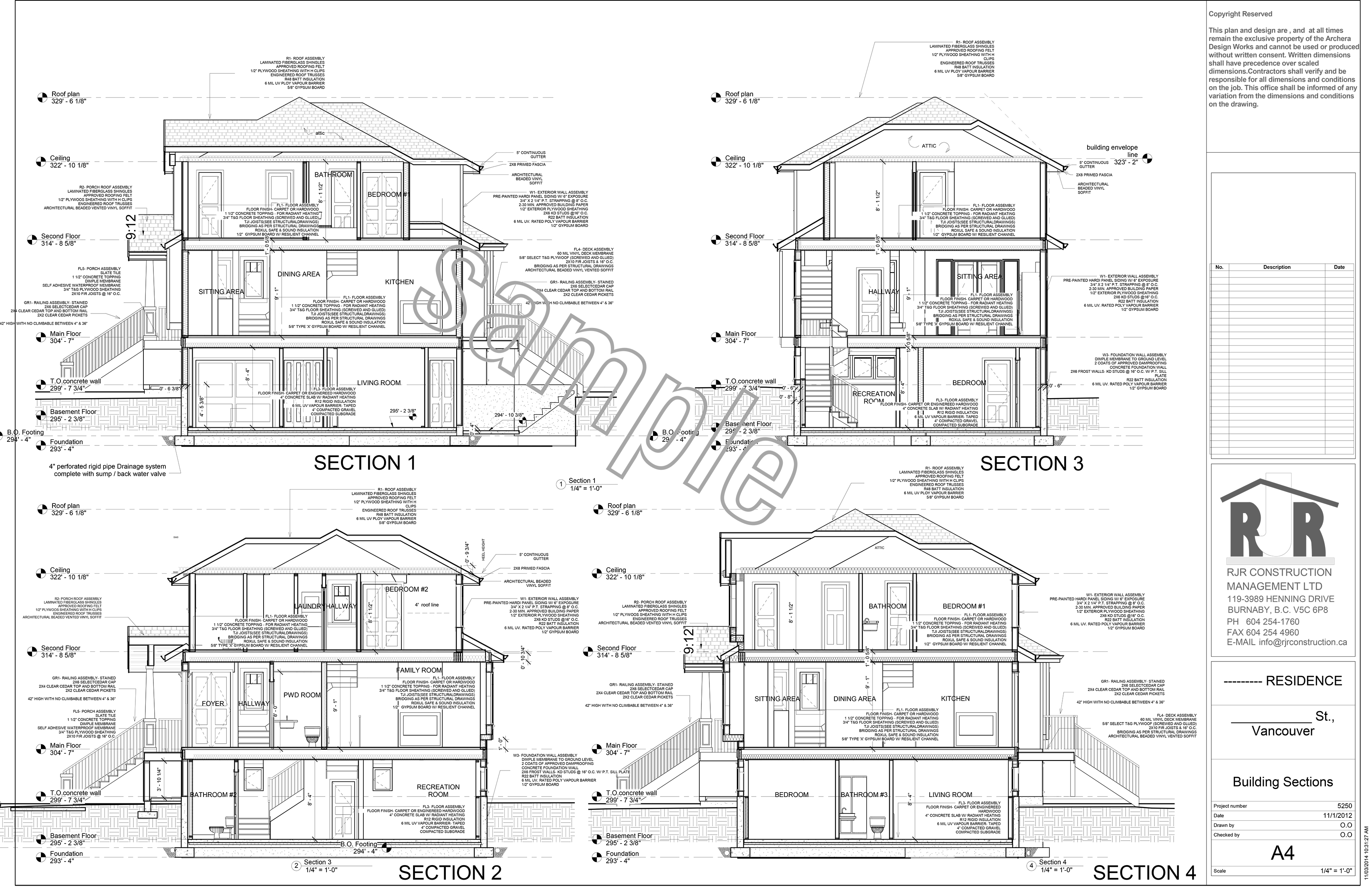 Sample drawings rjr construction group vancouver for Construction plan drawing