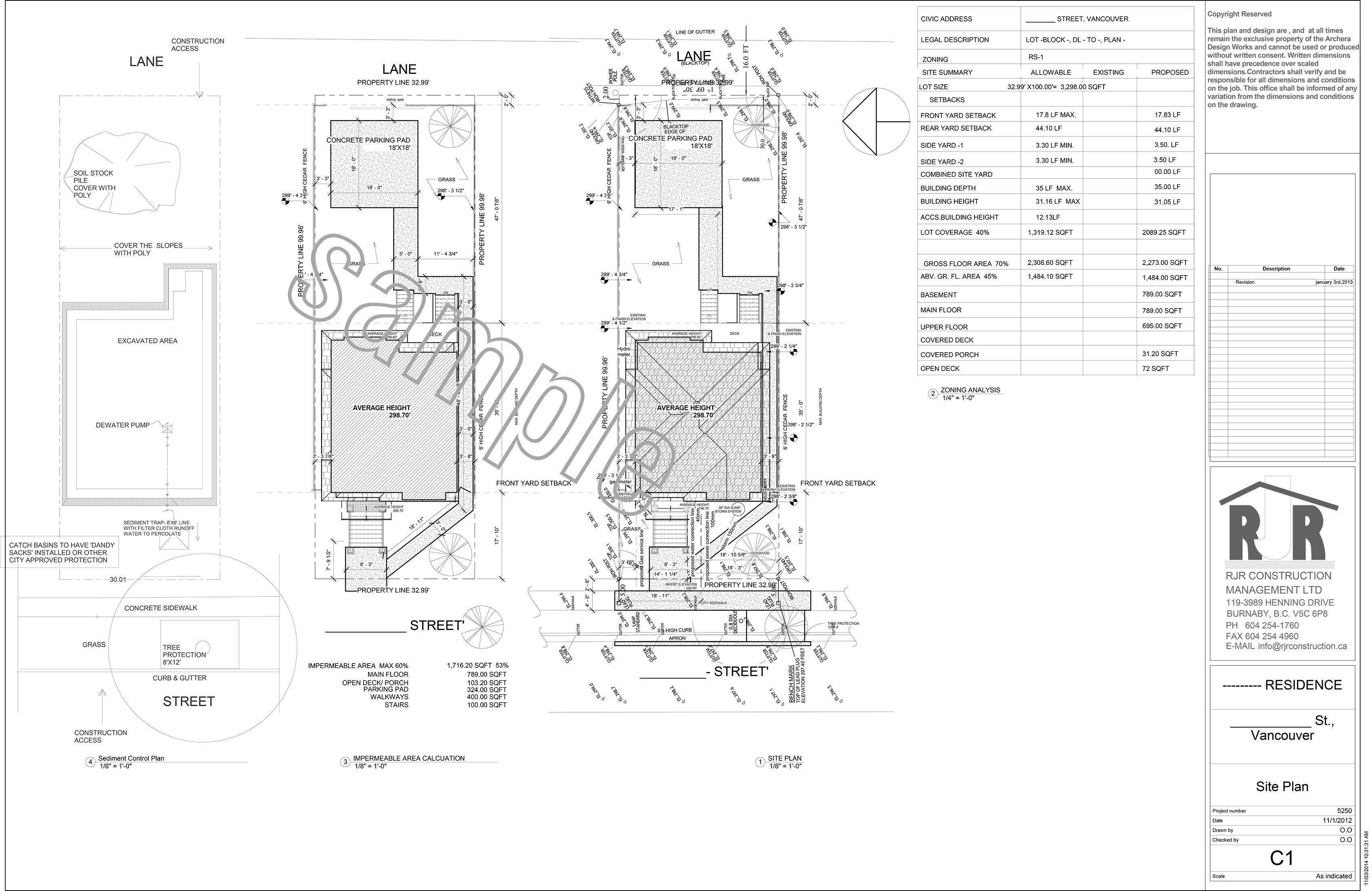 Sample drawings rjr construction group vancouver for Site plan drawing online